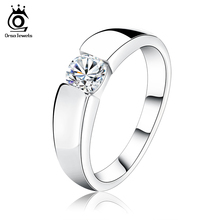 ORSA JEWELS 2017 Popular Silver Color Ring Model with Clear AAA Grade CZ Hot Sale Lead & Nickel Free Ring for Women and Men OR03(China)