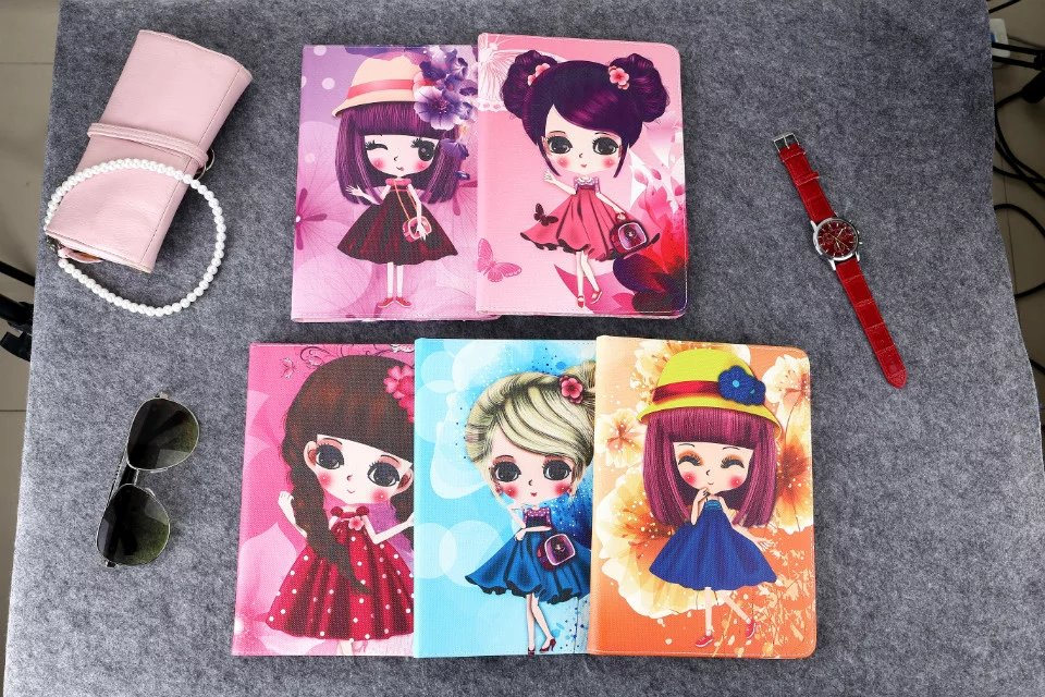 for ipad 4 3 2/5 /6/air1 air 2 lovely beauty girl tablet case Cute cartoon flower Girl PU leather cover stand protective shell <br><br>Aliexpress