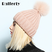 Ralferty Beanie 2017 Luxury Fox Pompom Hats For Women Winter Thick Hat Female Fashion Knitted Caps Real Fur Pompon Blue gorro(China)