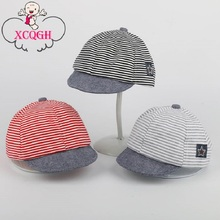 XCQGH Baby Hat For Boys Newborn Summer Cotton Casual Striped Soft Eaves Baseball Cap Newborn Baby Boy Beret Baby Girls Sun Hats
