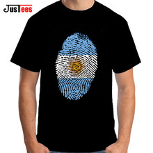 Hot Sales Funny Argentina Flag Fingerprint Men T shirt Short Sleeve Organic Cotton Men's tshirt Thumbprint design Tee shirt male(China)