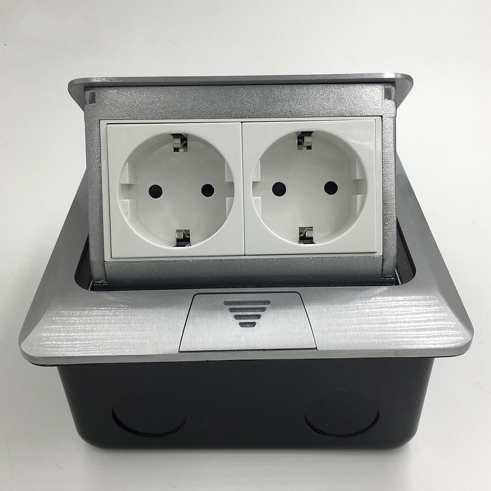 New Aluminum Panel EU Standard Pop Up Floor Socket 2 Way Electrical Outlet Modular Combination <br>