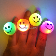 Free shipping 24pcs/lot Smile flash finger ring led finger lights ring Light-Up Toys for Concert/Bar/ Event Party Supplies