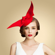 100% Australian Wool Womens Lady Vintage Fashion Red Wool Hair Pillbox Hat Bowknot Veil Felt Cocktail Party Wedding Socialite