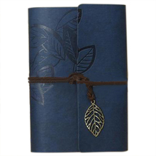 PU Leather Diary book Notebook Leaf Pendant Vintage Notebook 19x13.5cm, Dark blue(China)