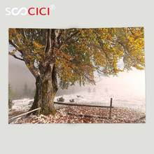 Custom Soft Fleece Throw Blanket Leaves Decor Birches of A Big Tree in the First Fall of Snow December Country Blizzard Frozen