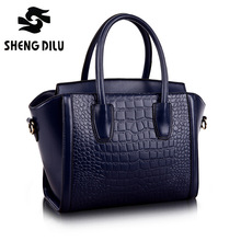 RECOMMEND! New 2016 High Quality Embossed Crocodile Pattern Bag Women Genuine Leather Handbag winter bags woman 6 colors #1166(China)