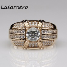 LASAMERO Ring For  men 1 CT round cut ring Certified Moissanite Ring Accents 18k Gold Real  Engagement Wedding Ring
