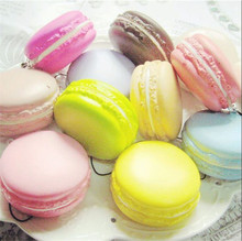 Cute Soft Dessert Macaron Squishy Cute Cell phone Cute Decorative Strap for Phones Keys Handbag Send Random Color