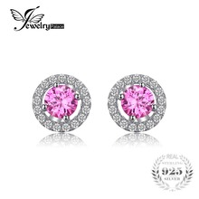 JewelryPalace Round 1.4ct Created Pink Sapphire Real 925 Sterling Silver Stud Earrings Classic Fine Jewelry for Women On Sale
