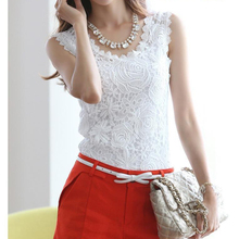 Hot Women Lace Blouse Vintage Blusas Femininas Summer Sleeveless White Crochet Casual Shirts Tops Plus Size(China)