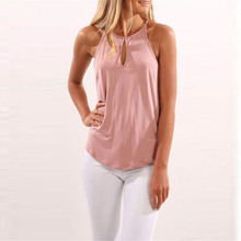 Buy 2018 Summer ZANZEA Women Sexy Halter Sleeveless Hollow Irregular Tank Tops Solid Loose Party Club Basic Vest Shirt Blouse