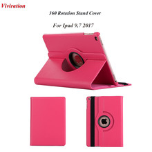 360 Rotating Case For iPad 9.7 2017 A1822 Brand New PU Leather Funda Portail Tablet Cover Good Use Fashion Stand Tablet Cover(China)