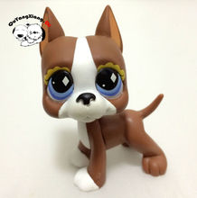CWG041 Pet Shop Animal Brown and White Great Dane Puppy Dog diamond Eyes Dog action Figure cute puppy(China)