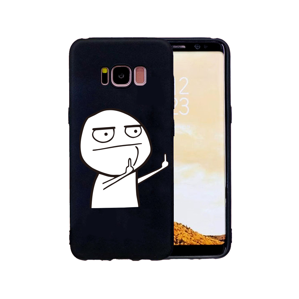 FGHGF Funny Cartoon Lovers Phone Soft Case For Samsung galaxy s6 s7 edge s8 s9 plus Case Middle Finger Cover Retro Black Cases