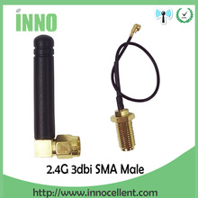 2pcs 2.4Ghz antenna 2.4g wifi antenna SMA male right angle connector 3dbi signal booster + PCI U.FL IPX to RP-SMA Pigtail Cable(China)