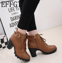EFFGT New Design 2017 high heels Shoes Women Boots Fashion Thick with zipper ankle boots martin boots free shipping H52