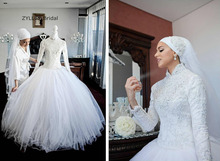 Buy ZYLLGF Bridal Ball Gown High Neck Hijab Wedding Dress Long Sleeve Arabic Bridal Dreses Beaded Muslim Wedding Gown RM44 for $279.00 in AliExpress store