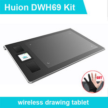 New Huion DWH69 Genuine Wireless Graphics Tablet Drawing Tablets Professional Signature Tablets Kids Painting Pen Tablet Black(China)