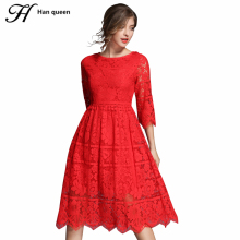 H Han Queen New Lace Dress Women Elegant Sexy Hollow Out Fashion Slim A-line Work Casual Party Autumn Dresses Navy Red Vestidos(China)