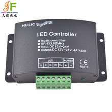 5Pcs DC 12-24V 12A Sound Activated Music Controller with 24key IR Remote Control 144W 2 Ports Output 4 RGB LED Strip Lights