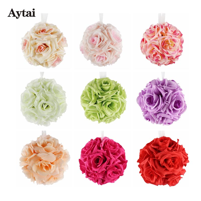 Aytai 1pc Foam Silk Artificial Rose Flower Balls for Weddings 12cm 6 Colors Decorative Flowers Wreaths with Ribbon(China (Mainland))