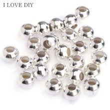 100pcs/lot 4 Sizes Silver/Golden Plated Smooth Ball Spacers Beads Fashion Beads for DIY Jewelry Making