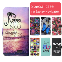 Fashion cartoon printed flip wallet leather case for Explay Navigator with Card Slot phone bag book case,free gift(China)