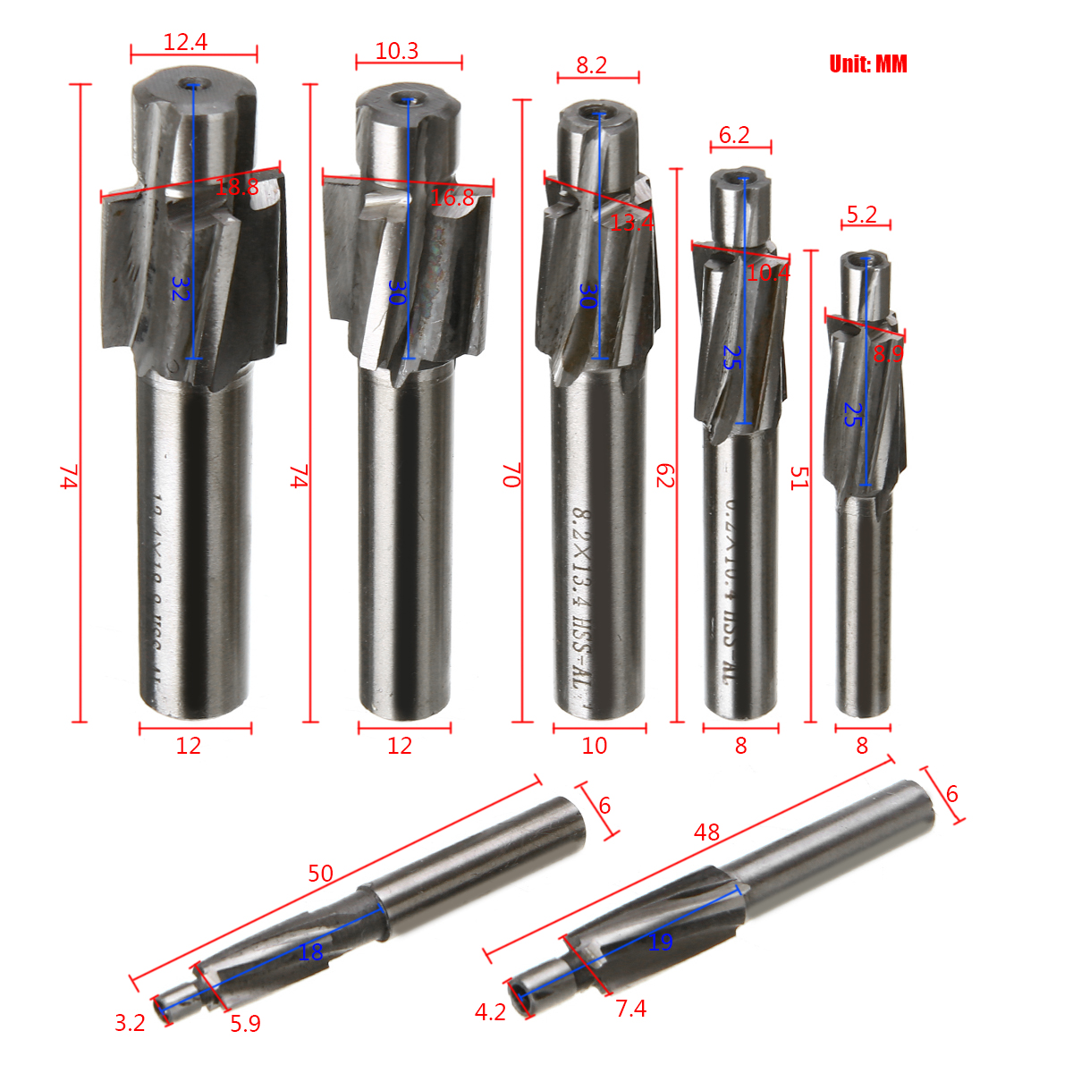 7pcs HSS Counterbore End Mill M3.2-M12.4 Pilot Slotting Milling Cutter For Power Tools