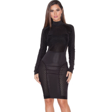 Black Mesh Sexy Club Wear Women Party Dresses New Arrival Winter 2017 Long Sleeve White Stretchy Bodycon Bandage Dress