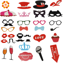 31pcs Mustache On A Stick Wedding Party Photo Booth Props Photobooth Funny Masks Bridesmaid Gifts For Wedding Decoration