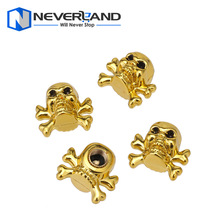 New 4x Evil Skull Car Auto Bike Motorcycle Tire air Valve Stem Caps Wheel Rims Dust Cover Gold Free Shipping