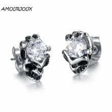 AMOURJOUX Fashion White/Black Zircon in Skeleton Stainless Steel Stud Earrings for Women Men Studs Female Male Earring