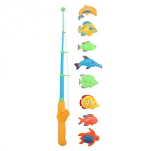 Magnetic 1 Rod 8 Fish Catch Hook Pull Baby Children Bath Fishing Game Set Outdoor Fun Toys M09