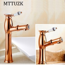 MTTUZK rose golden brass put out basin faucet Shampoo faucet hot and cold mixer taps porcelain handle with diamonds