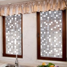 2017 New 3D Big Mosaic Design Frosted Static Cling Privacy Decal Glass Window Vinyl Film christmas decorations for home 100cm(China)