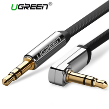 Ugreen AUX cable 3.5mm audio cable 90 degree right angle flat jack 3.5 mm for car iPhone headphone beats speaker aux cord MP3/4(China)