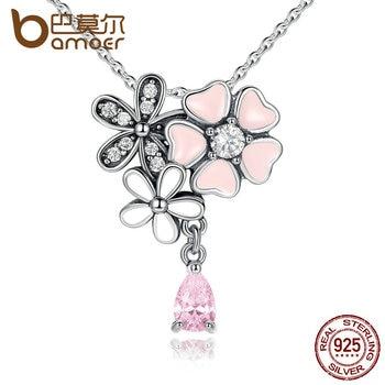 BAMOER Стерлингового Серебра 925 Розовое Сердце Cherry Blossom Цветок 45 СМ Подвески и Ожерелья Женщины Стерлингов-Серебро-Ювелирные Изделия SCN046