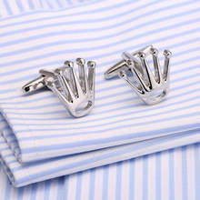 2017 New Design Crown Shape Men's Cuff Links Crystal Mens Shirts Fasten Cuff Luxury Accessories For Men Jewelry(China)