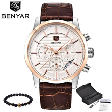 BENYAR Men Watch Top Brand Luxury Quartz Watch Mens Sport Fashion Analog Leather Strap Male Wristwatch New Waterproof Clock xfcs