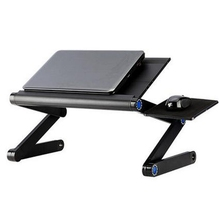 New Laptop Stand Adjustable Holder For Bed Notebook 360 Foldable Laptop Desk Table Cooling Fan hole Stand Portable Lapdesks Tray(China)