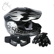 DOT Youth Kids ATV Motocross Dirt Bike Black Skull Helmet w/Goggles+Gloves S M L(China)