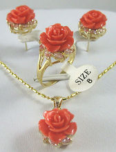 Free deliver Nobility Lucky women Design 12mm Red Pink Coral Carved Flower Earrings Ring Necklace Pendant  Plated