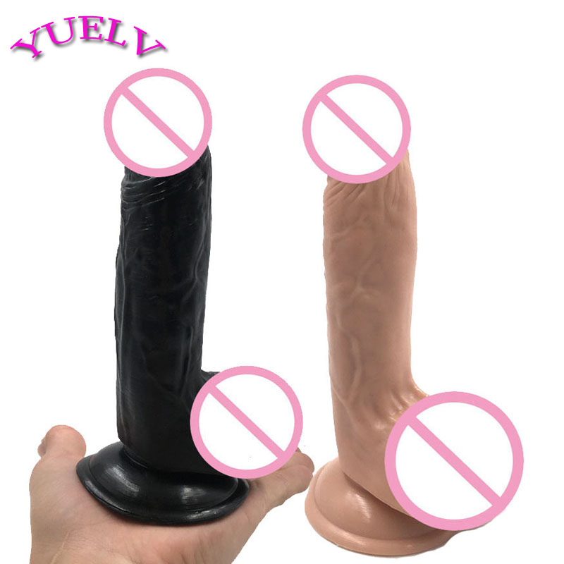 YUELV 19*4CM Realistic Dildo Adult Sex Products Women 2 Colors Big Dong Strong Sucker Flexible Penis Big Dick Erotic Toys