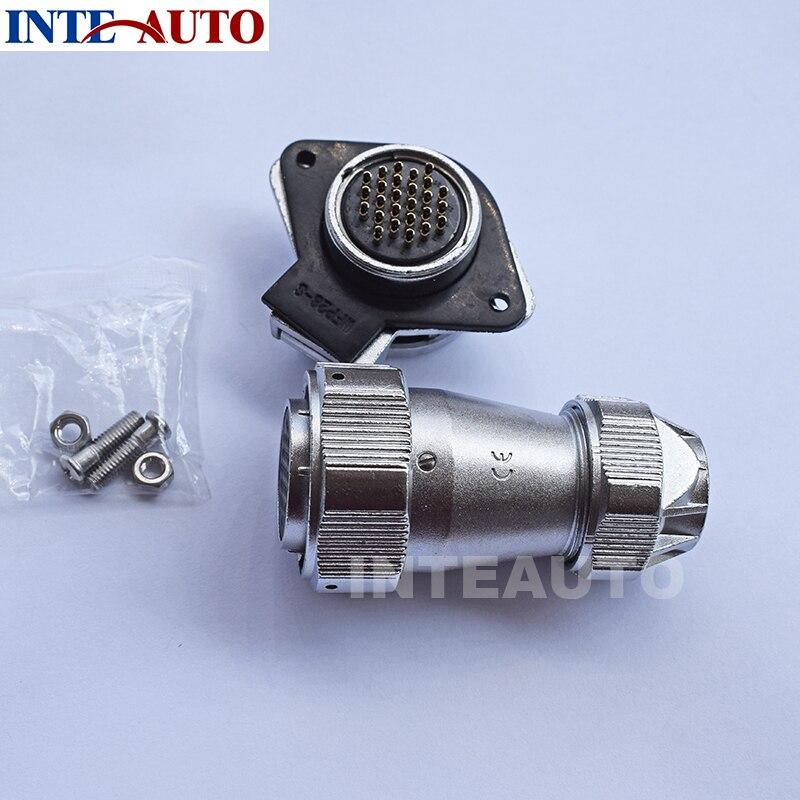 Watertight IP68 circular connector, 1x WY28J26ZG and 1x WY28K26TE,plug and socket,26 pins <br>
