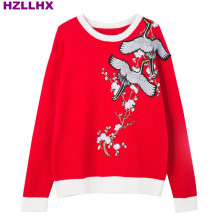 HZLLHX women and men red sweater cranes flowers embroidery long-sleeve knit tops ladies plum blossom pullovers autumn jumper(China)