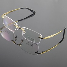 100% Titanium Eyeglasses Frame Eyeglasses Men Rimless Glasses Mens Optical Spectacles Eyewear Frames oculos of grau
