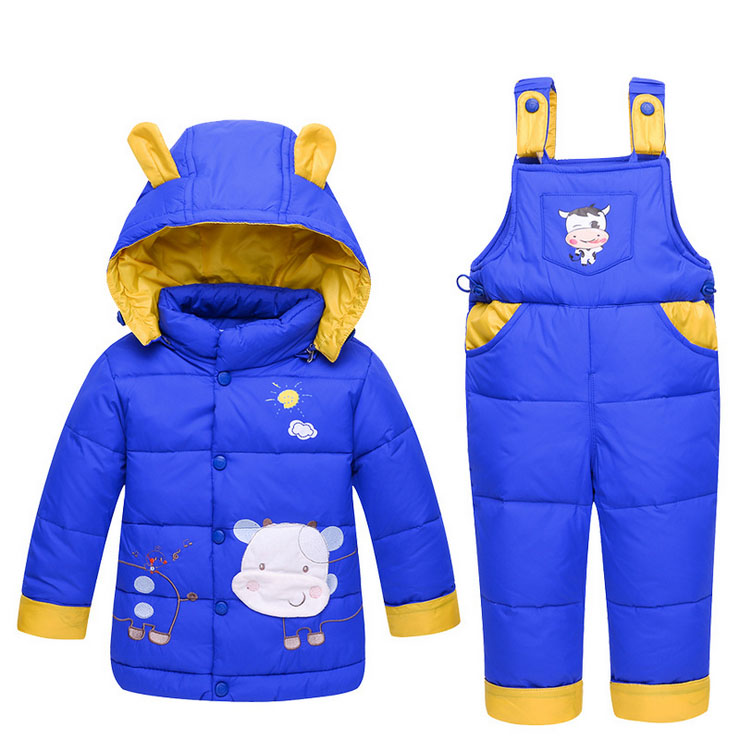 New winter Kids Baby Girl boy toddler  Snow ski suits hoodied cartoon detachable hoodied duck down Jackets+ overall Pants sets<br>