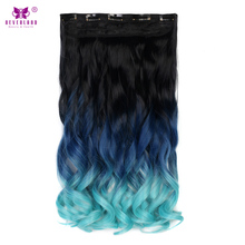 "Neverland 20"" 50cm Wavy Rainbow Blue Ombre Synthetic Hairpieces High Temperature Fiber Clip In Hair Extensions Fake Hair(China)"