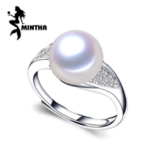 MINTHA Natural Pearl rings for women,925 Sterling Silver ring,white pearl beads and gemstone ring,wedding rings fine jewelry(China)